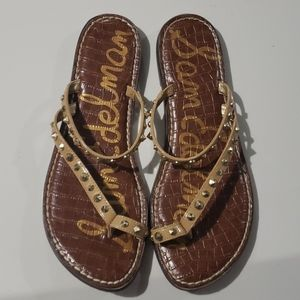 Sam Edelman Nude Gold Studded Sandals Sz 9.5